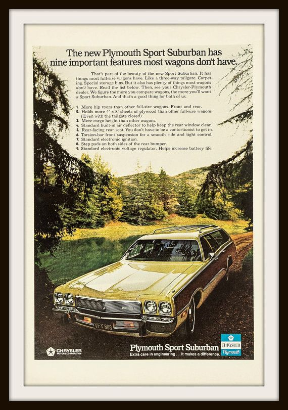 1973 Plymouth Sport Suburban Advertisement. by vintageadsnprints