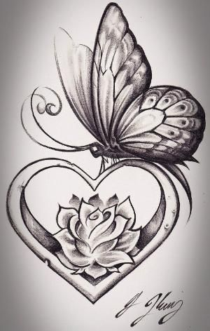 I love the heart and rose. Not big fan of butterfly tattoos by denise.su