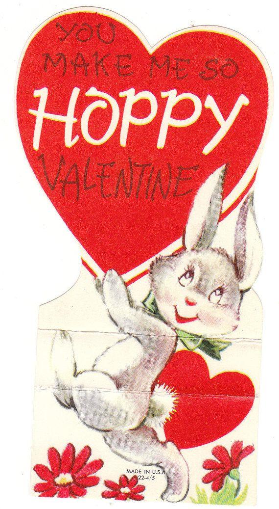 Bunny Rabbit Vintage Valentine Die-Cut Card for Children ...