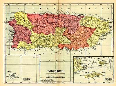 "Hammond Map - ""PORTO RICO"" - Lithographed - 1905"