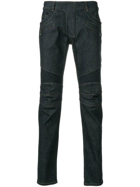 Shop Balmain biker jeans.