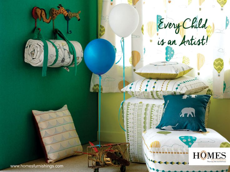 Children's room is their creative world where they learn to explore their creative side. Use more of child-friendly prints, designs and colours to make their room even more appealing. Explore more @ www.homesfurnishings.com #HomesFurnishings #HomeDecor #Cushions #Curtains #DesignerHomeFabric #Furnishings #KidsRoom