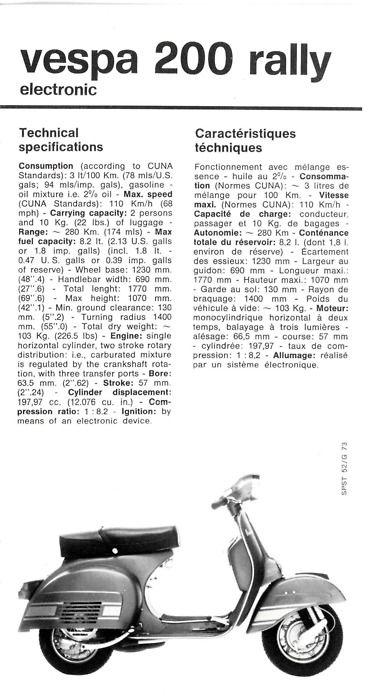 1973 Piaggio technical sheet