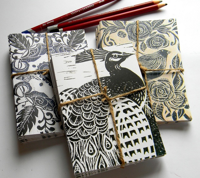 #lino #print #blank #cards #bird
