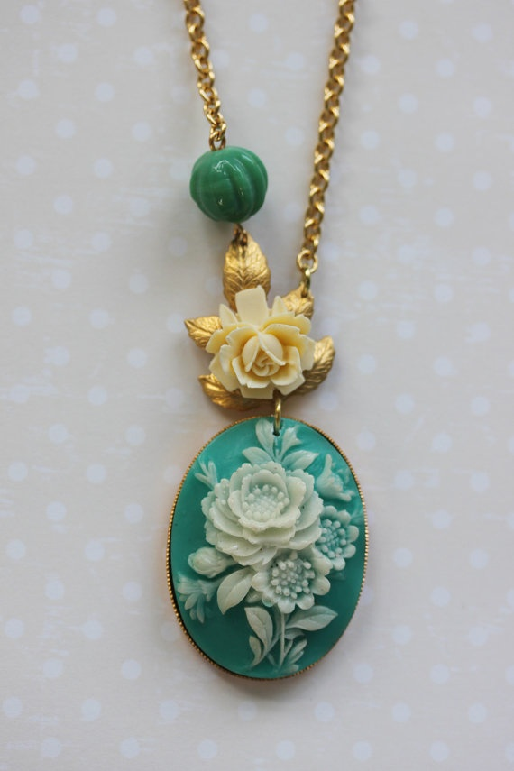 Turquoise Cameo Necklace Vintage Cameo Necklace   by madebymoe, $42.00