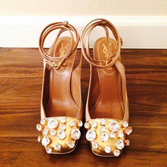 YSL Bejeweled Nude Heels | Saint Laurent Shoes, Yves Saint Laurent ...