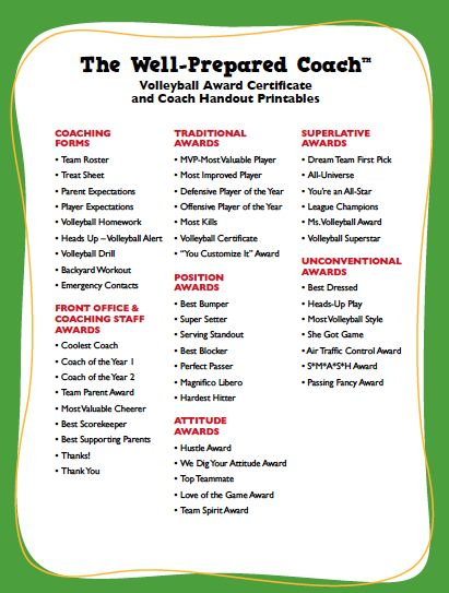 The Well-Prepared Coach – Volleyball Award Certificate and Coach Handout Printables — Price: $29.99