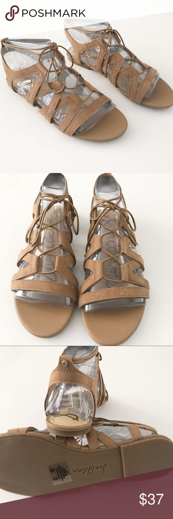 """Brand new! Same Edelman Camel sandals Comes with original box. Materials are leather and suede. Has a slightly padded footbed and a 1/2"""" wooden heel Sam Edelman Shoes"""