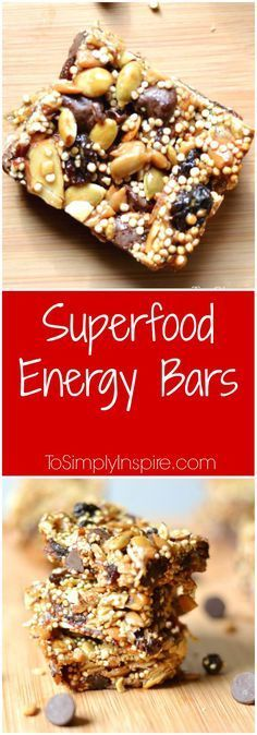 These yummy superfood energy bars are packed full of nutrients and sweetened with honey and just a little touch of chocolate.
