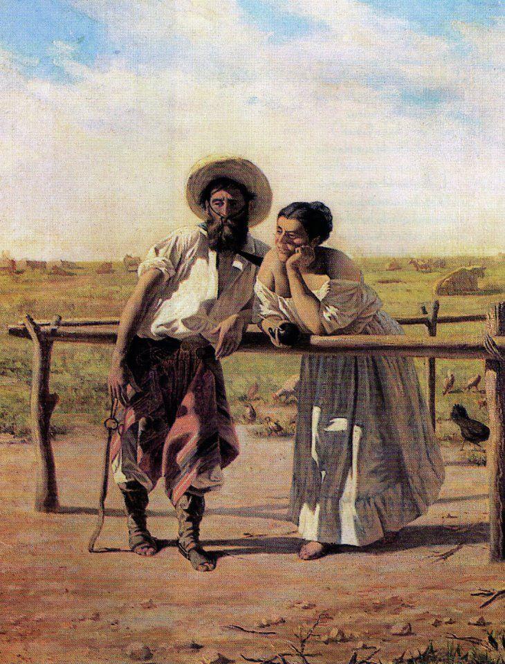 """Juan Manuel Blanes. """"Uno de los tres chiripáes"""", 1881. Óleo sobre tela, 51 x 41…"""