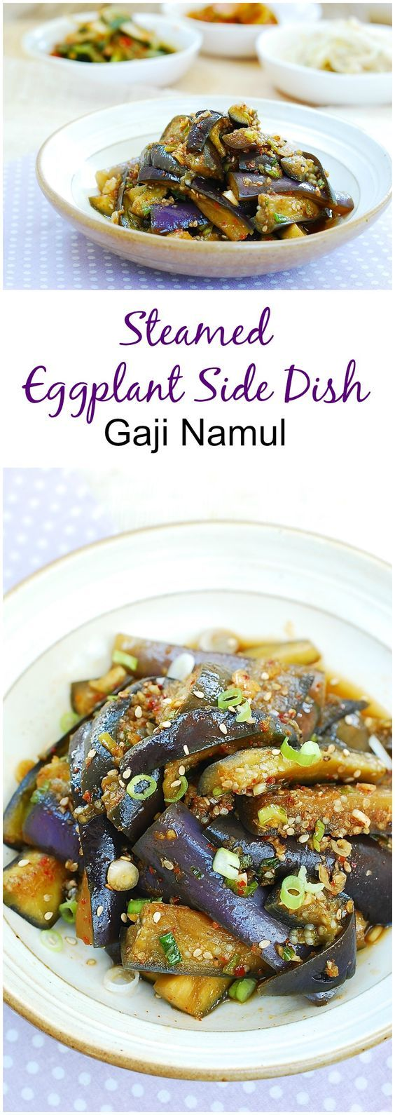 Delicious Korean eggplant side dish! 2 medium size Korean/Asian eggplants   1 scallion, finely chopped  1 teaspoon minced garlic 1-1/2 tablespoons soy sauce 2 teaspoons sesame oil ¼ teaspoon sugar ½ teaspoon gochugaru (Korean red chili pepper flakes) 1 teaspoon roasted sesame seeds pinch pepper   Cut the eggplants lengthwise in quarters. Then cut crosswise into about 2-inch pieces.   Boil the water in a pot with a steamer tier or basket over high heat, covered. Place the eggplant pieces in…