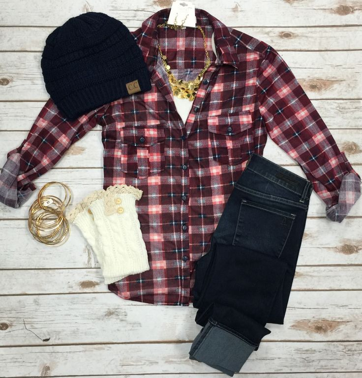 Penny Plaid Flannel Top: Burgundy