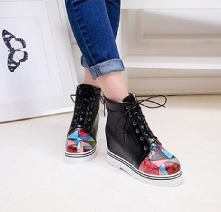 Leisure Women's Wedge Hidden Heels Lace Up Multi Color Ankle Boots Casual