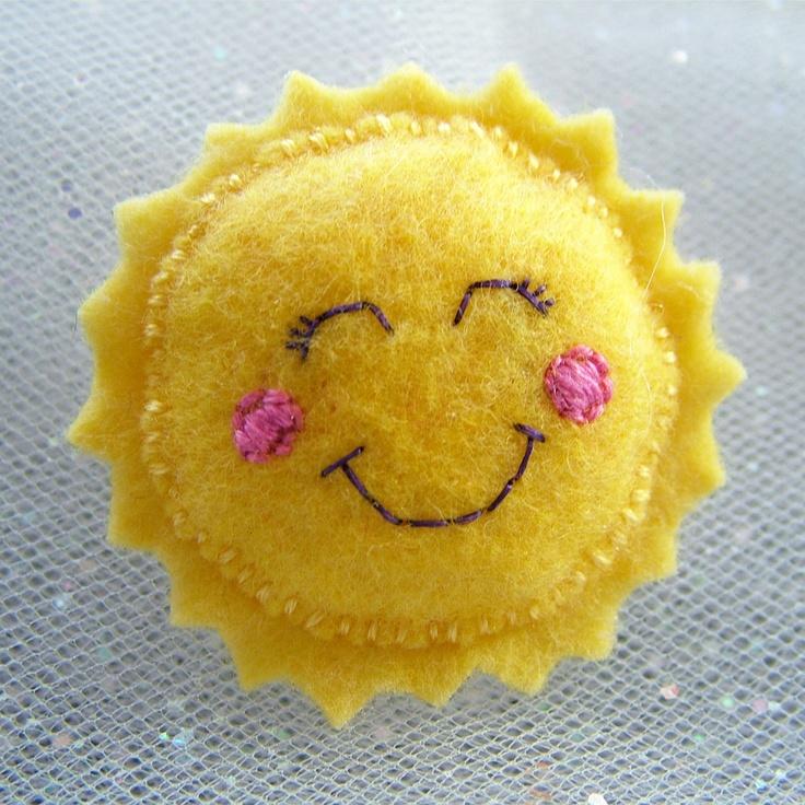 Handmade Felt Happy Sun Brooch