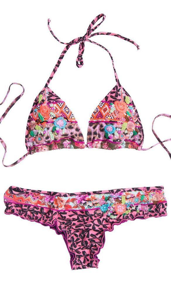 AGUA BENDITA bikini bendito floral size S Colombian embroidered swimwear #AguaBendita #Bikini