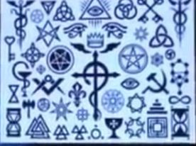 """All pagan and secret society symbols. Do your homework. You wouldn't walk around with a shirt saying """"I believe in... If you didn't """" Here's a history symbol shocker- the peace symbol. Actually Roman Emperor Nero used this to signify his decree to hang all Christians upside down on the cross to restore 'peace' !! However, this is the same descendant of Caligula who killed his mother and played his Harp while burning Rome to build a castle. He blamed the burning of Rome on Christians."""