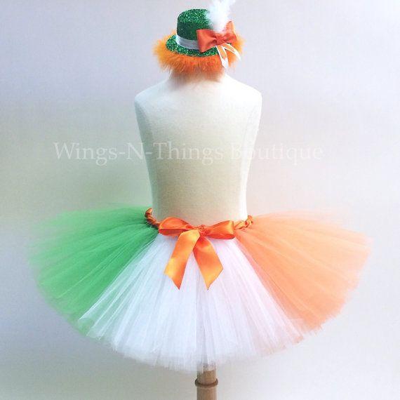 ADULT IRISH FLAG Tutu Skirt Set w/ Leprechaun Hat Headband, Womans Costume, Party, Ireland, St Patricks Day, Running, Orange, Green, White, by wingsnthings13. Explore more products on http://wingsnthings13.etsy.com