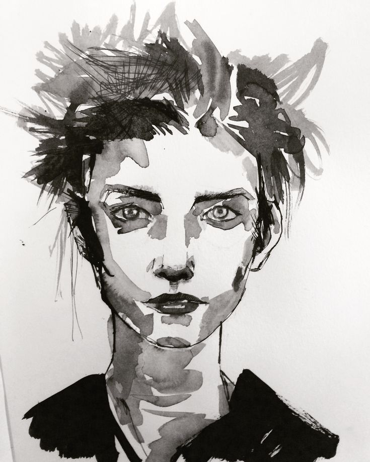 Sketchbook – Crystal Smith - ink face of woman