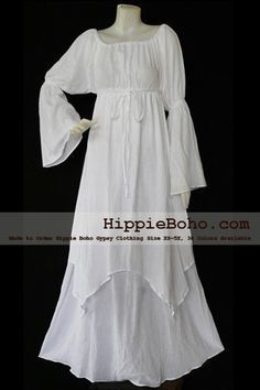 No.41 - Size XS-5X Hippie Boho Clothing Gypsy Long Sleeve Bell Sleeve White Plus Size Costume Full Length Maxi Dress