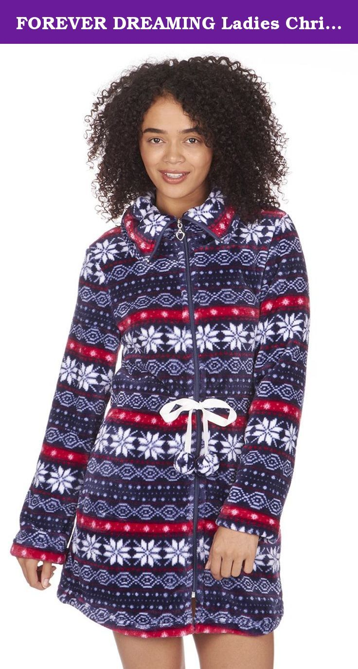 FOREVER DREAMING Ladies Christmas Fairisle Fleece Bed Coat. Keep snug and warm over Christmas and winter with these bed jackets from Forever Dreaming! These make an excellent Christmas gift, (thanks to to fairisle/nordic style), or can be bought throughout the year for loved ones! Made from a 100% Polyester flannel fleece meaning these are super soft, strong, light weight, and resistant to shrinking, stretching, mildew and creasing! Available in various sizes, from small to extra large…