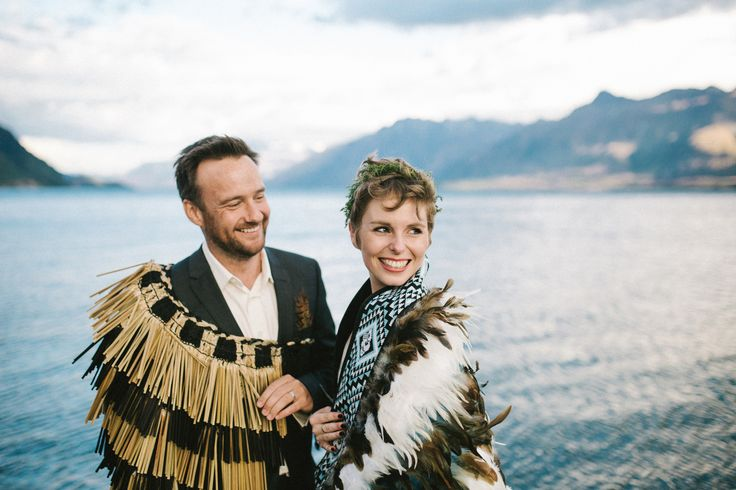 The beautiful ceremony of Alex & Lisa of @2people1life.  Delighted to dress both the beautiful #bride & the handsome #groom! #queenstown #newzealand #wedding #maori #tradition #korowai #feathercloak @emilyadamson photography  / @nemoworkroom dress and suit http://2people1life.com/blog/