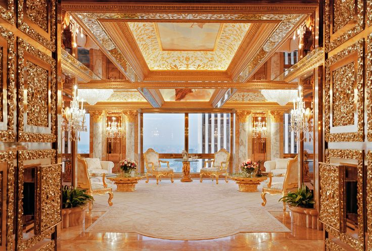 "Trump's triplex is a marble-and-onyx-covered ode to Versailles that he calls ""comfortable modernism."" It is a $100 million penthouse that sits atop the Trump Tower on Manhattan's 5th Avenue. (Scott Frances/Otto)"