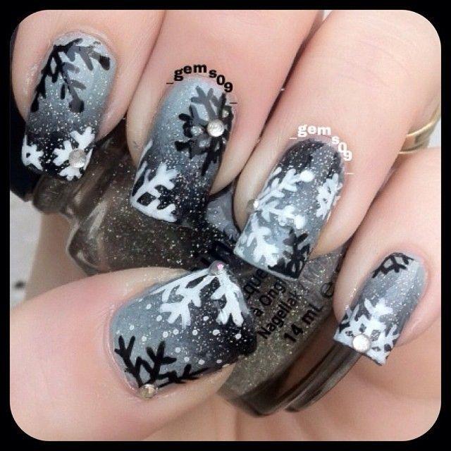 snowflakes by _gems09_ #nail #nails #nailart: