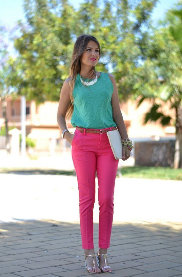 Teal And Fuchsia Outfit 2017 Street Style