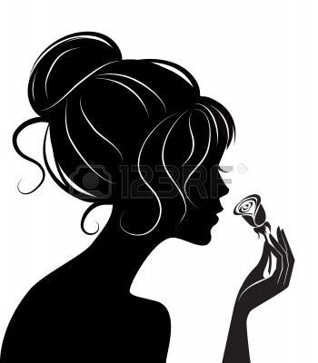 Beautiful girl #silhouette with rose.