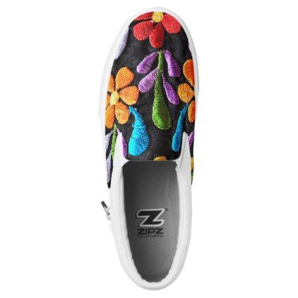 #Mexican Flowers Slip-On Sneakers - #flower gifts floral flowers diy