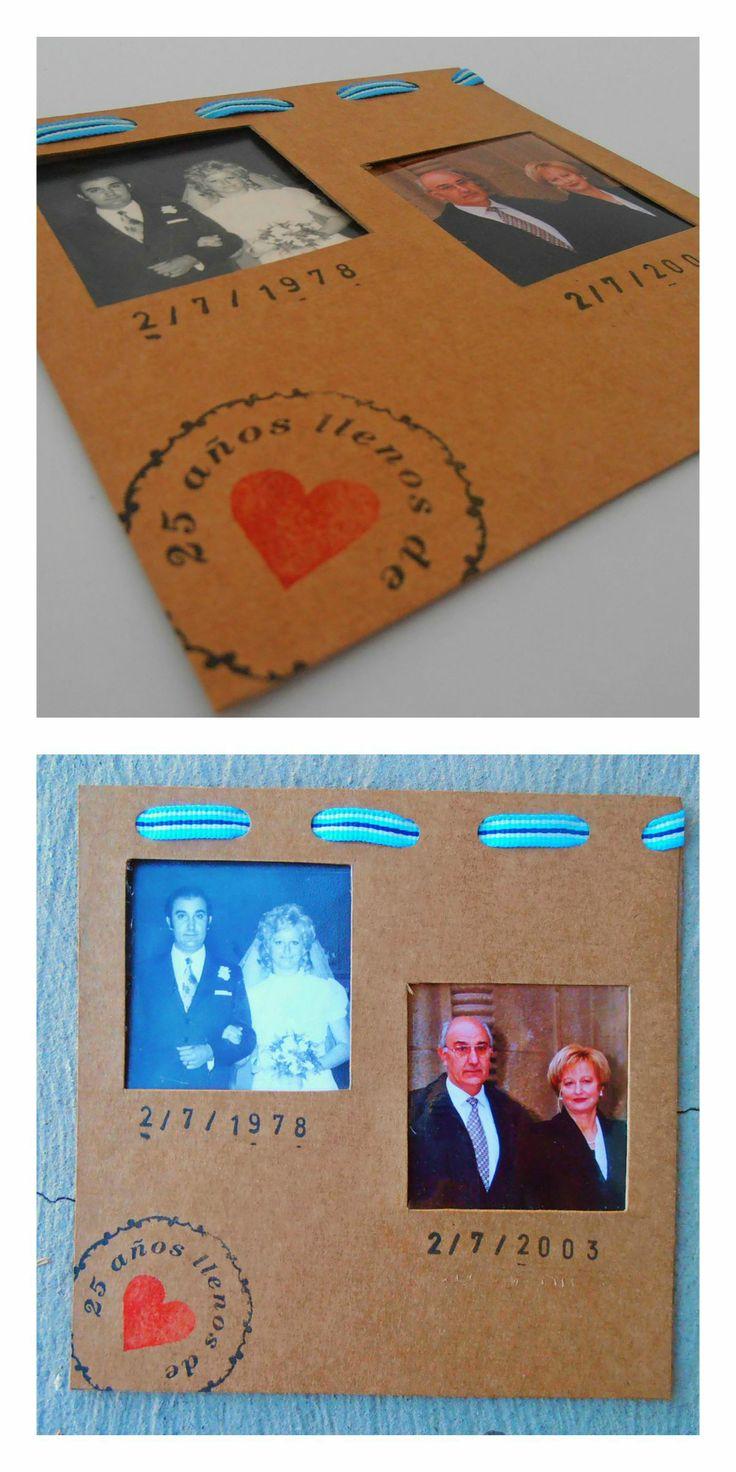Invitacion bodas de plata con sellos de goma
