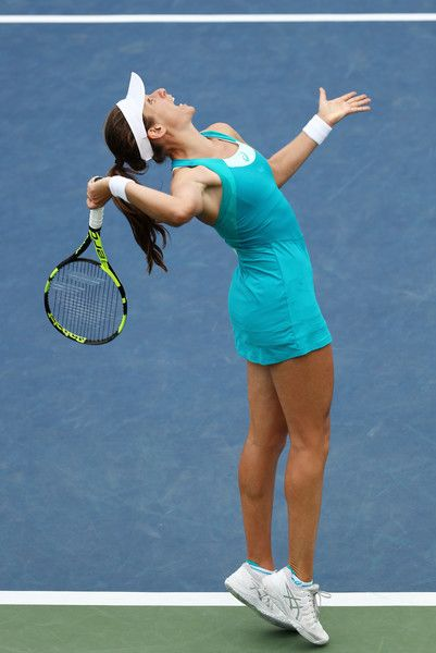 Johanna Konta of Great Britain serves during her first round Women's Singles match against Aleksandra Krunic of Serbia & Montenegro on Day One of the 2017 US Open at the USTA Billie Jean King National Tennis Center on August 28, 2017 in the Flushing neighborhood of the Queens borough of New York City.