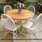 Set Meja Makan Bundar Cat Putih