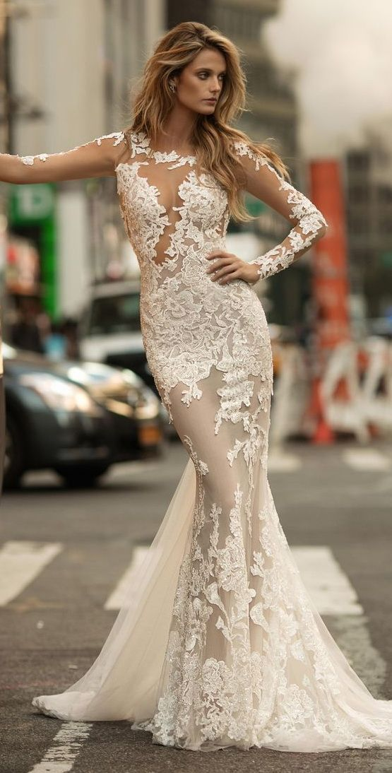 Women's Berta Illusion Long Sleeve Mermaid Gown