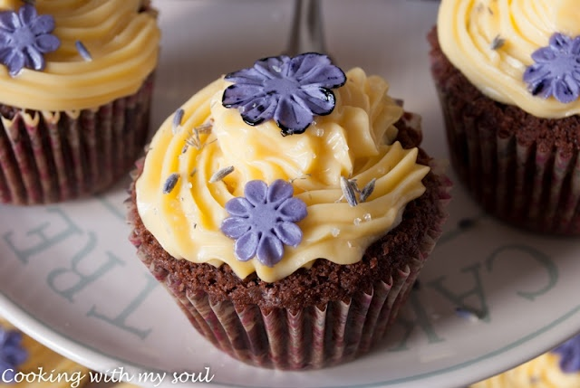Lavender cupcakes with lemon frosting