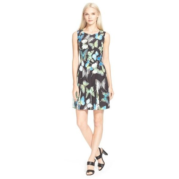 Ted Baker London 'Engrid' Butterfly Print Pleated Dress ($165) ❤ liked on Polyvore featuring dresses, black, flutter dress, flounce dress, butterfly dress, ted baker and zipper back dress