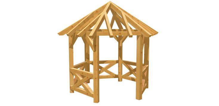 Holz 6Eck Pavillon selber bauen holzbauplan.de