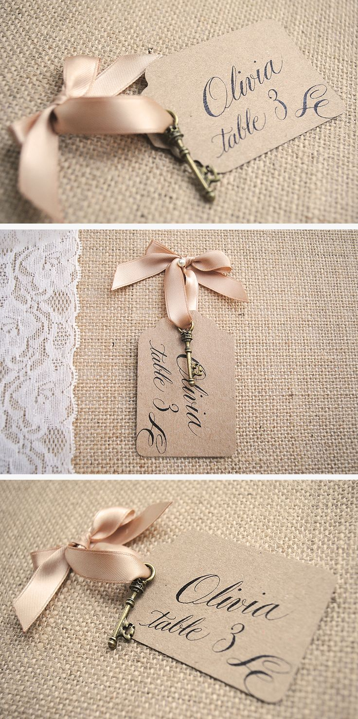 Vintage key escort cards your guests will love! With quirky calligraphy. £2.90 from www.Calligraphy-for-Weddings.com