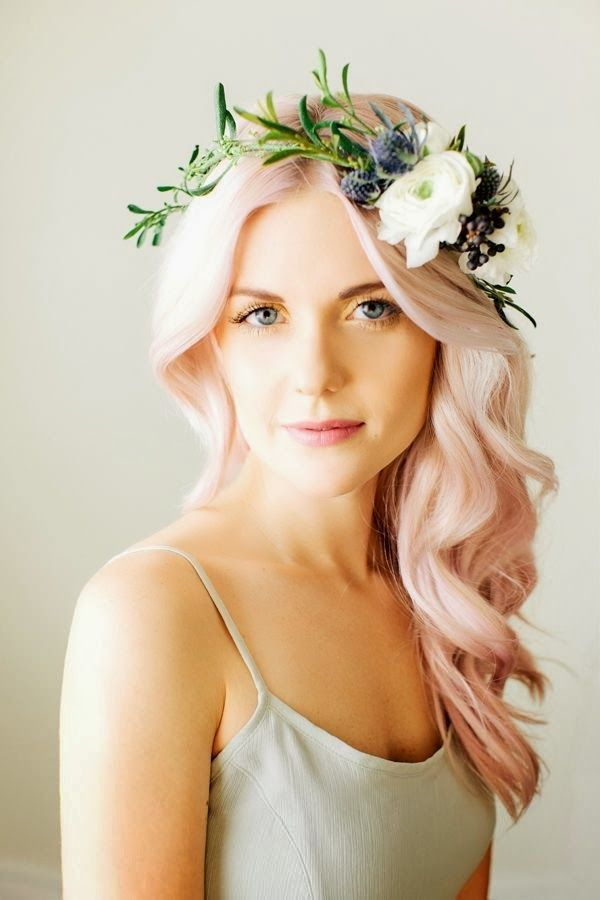Soft waves on light pink hair and pretty flower wreath crown.