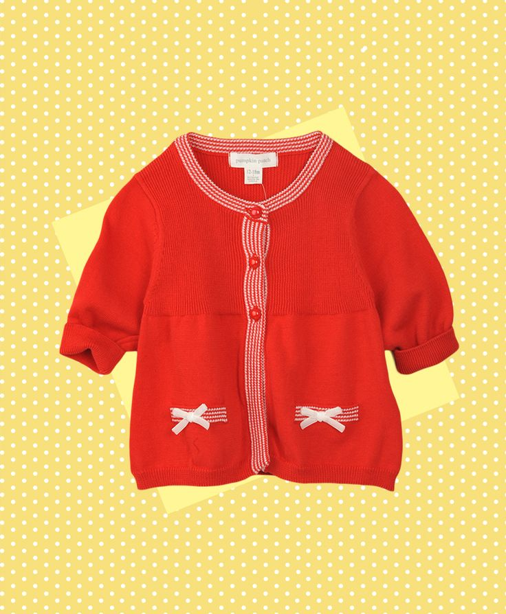 Pumpkin Patch Bow Cardi - 100% cotton, available in sizes 12-18m to 6 years http://www.pumpkinpatchkids.com
