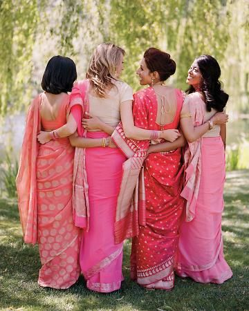 Indian wedding, Pakistani wedding, bridesmaids in pink, coral, and gold saris.