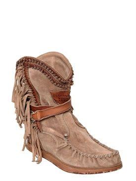 """el vaquero - donna - stivali - stivali """"silverstone"""" in camoscio con frange 70mm"""