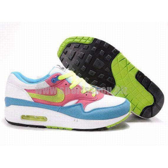Mens Air Max 1 White/Pink/Blue