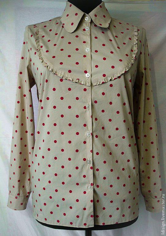 блузка в горошек - бежевый,в горошек,блуза из шелка,блузка из хлопка,блуза