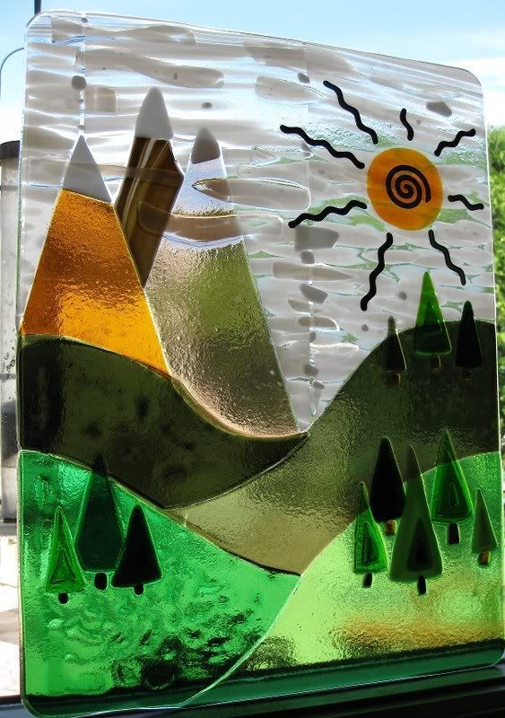 fused glass panel. Woodland and mountain scene