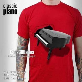 Kaos 3D PIANO Klasik - Kaos Alat Musik 3D