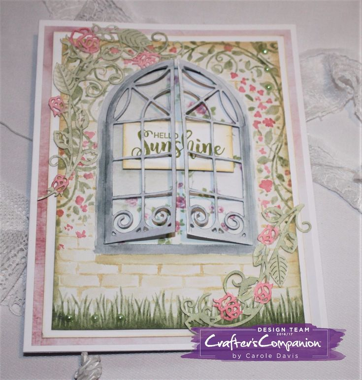 Card made using Crafter's Companion 3D Embossing Folder – Country Cottage and Die'sire Classiques Dies – Cottage Window, Rose Vine. Designed by Carole Davis. #crafterscompanion