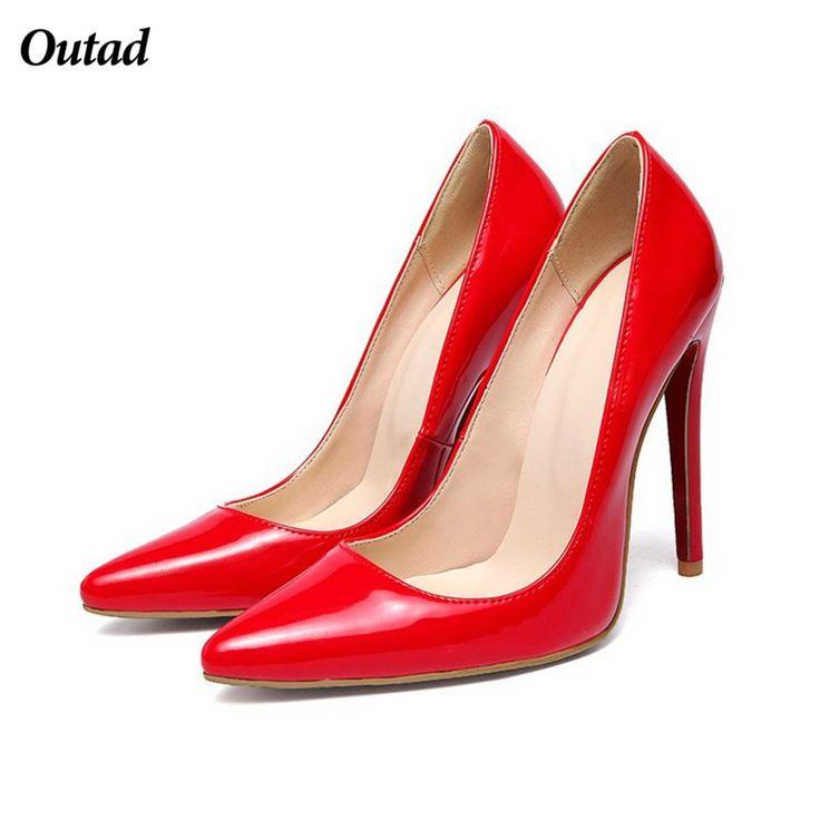 OUTAD Brand Woman Shoes 12cm High Heels Pumps Female Nude Elegant Thin Toe  PU Plus Size 5b65b507040e