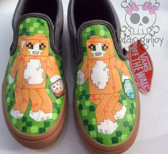 Custom hand painted Minecraft  Stampy Longhead stampylongnose Toddler Children's shoes