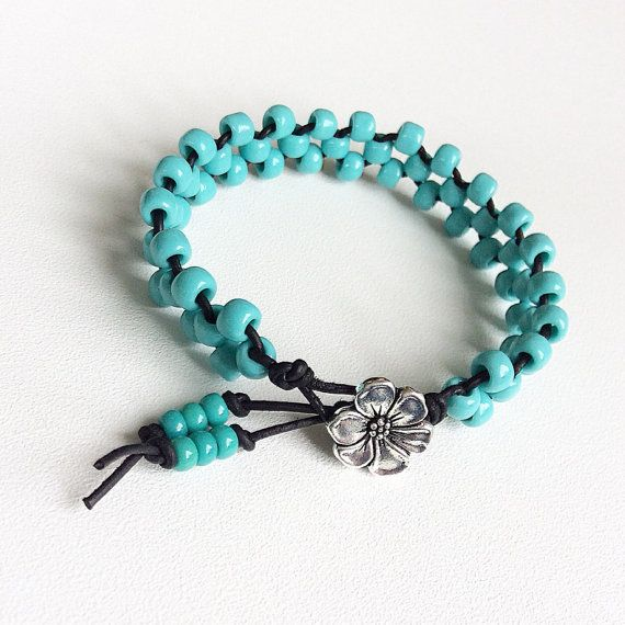 Handmade turquoise beaded bracelet leather and by Rubybluejewels